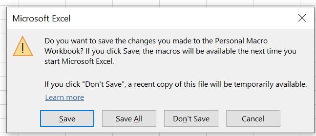saving personal macro workbook
