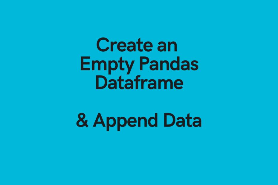 Empty Pandas Dataframe Cover Image